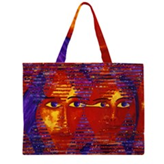 Conundrum Iii, Abstract Purple & Orange Goddess Zipper Large Tote Bag by DianeClancy