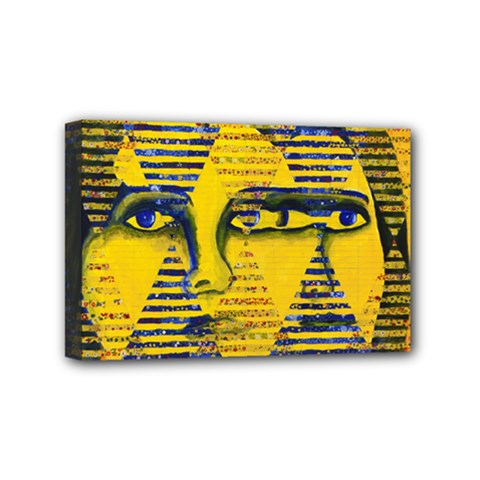 Conundrum Ii, Abstract Golden & Sapphire Goddess Mini Canvas 6  X 4  by DianeClancy