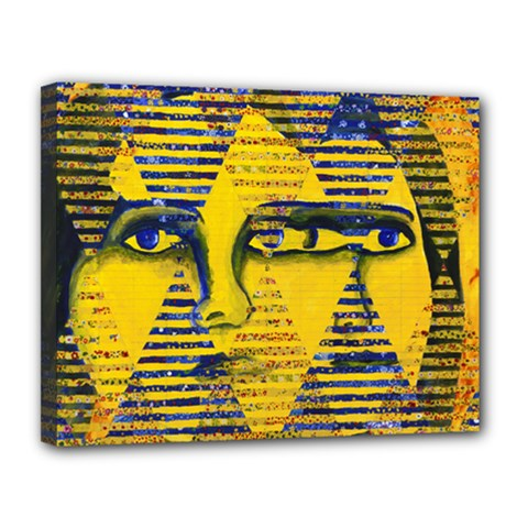 Conundrum Ii, Abstract Golden & Sapphire Goddess Canvas 14  X 11  by DianeClancy