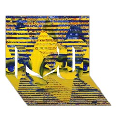Conundrum Ii, Abstract Golden & Sapphire Goddess I Love You 3d Greeting Card (7x5)