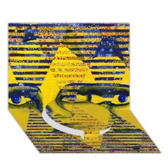 Conundrum Ii, Abstract Golden & Sapphire Goddess Circle Bottom 3d Greeting Card (7x5)