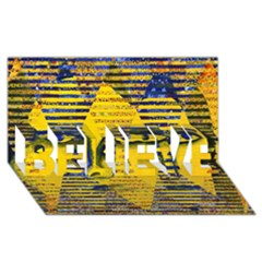 Conundrum Ii, Abstract Golden & Sapphire Goddess Believe 3d Greeting Card (8x4)  by DianeClancy