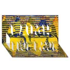 Conundrum Ii, Abstract Golden & Sapphire Goddess Laugh Live Love 3d Greeting Card (8x4)  by DianeClancy