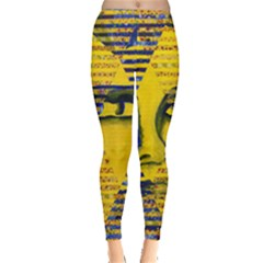 Conundrum Ii, Abstract Golden & Sapphire Goddess Leggings  by DianeClancy