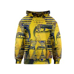 Conundrum Ii, Abstract Golden & Sapphire Goddess Kids  Pullover Hoodie by DianeClancy