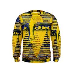 Conundrum Ii, Abstract Golden & Sapphire Goddess Kids  Sweatshirt by DianeClancy