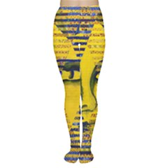 Conundrum Ii, Abstract Golden & Sapphire Goddess Women s Tights by DianeClancy