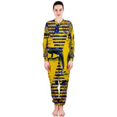 Conundrum Ii, Abstract Golden & Sapphire Goddess Onepiece Jumpsuit (ladies)  by DianeClancy