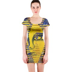 Conundrum Ii, Abstract Golden & Sapphire Goddess Short Sleeve Bodycon Dress by DianeClancy