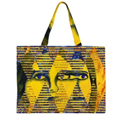 Conundrum Ii, Abstract Golden & Sapphire Goddess Zipper Large Tote Bag by DianeClancy