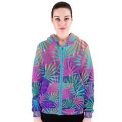 Colored Palm Leaves Background Women s Zipper Hoodie by TastefulDesigns