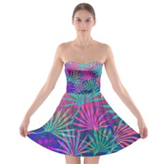 Colored Palm Leaves Background Strapless Dresses
