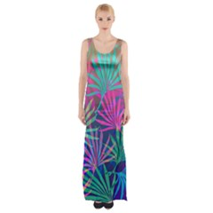 Colored Palm Leaves Background Maxi Thigh Split Dress by TastefulDesigns