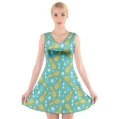 Summer Pineapples Fruit Pattern V-Neck Sleeveless Skater Dress by TastefulDesigns