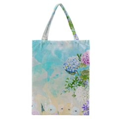 Watercolor Fresh Flowery Background Classic Tote Bag by TastefulDesigns