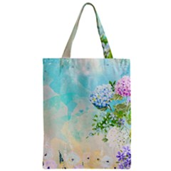 Watercolor Fresh Flowery Background Zipper Classic Tote Bag by TastefulDesigns