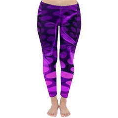 Abstract In Purple Winter Leggings  by FunWithFibro