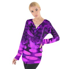 Abstract In Purple Women s Tie Up Tee