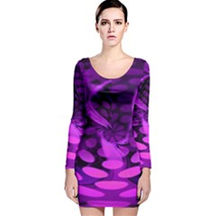 Abstract In Purple Long Sleeve Velvet Bodycon Dress by FunWithFibro