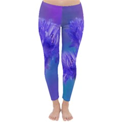 Flowers Cornflower Floral Chic Stylish Purple  Winter Leggings  by yoursparklingshop