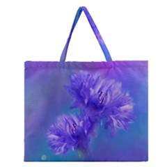 Flowers Cornflower Floral Chic Stylish Purple  Zipper Large Tote Bag by yoursparklingshop