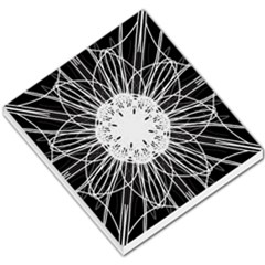Black And White Flower Mandala Art Kaleidoscope Small Memo Pads by yoursparklingshop