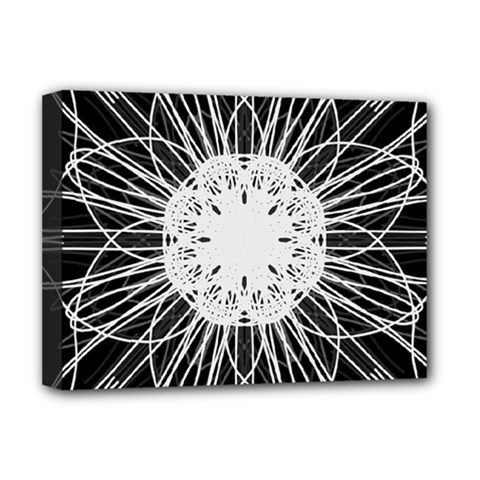 Black And White Flower Mandala Art Kaleidoscope Deluxe Canvas 16  x 12   by yoursparklingshop