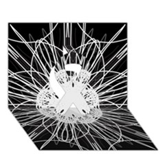 Black And White Flower Mandala Art Kaleidoscope Ribbon 3d Greeting Card (7x5)  by yoursparklingshop