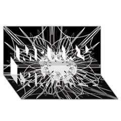 Black And White Flower Mandala Art Kaleidoscope Merry Xmas 3d Greeting Card (8x4)  by yoursparklingshop