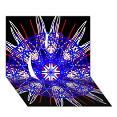 Kaleidoscope Flower Mandala Art Black White Red Blue Apple 3d Greeting Card (7x5)