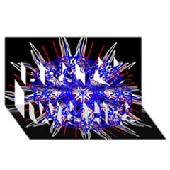Kaleidoscope Flower Mandala Art Black White Red Blue Best Wish 3d Greeting Card (8x4)  by yoursparklingshop