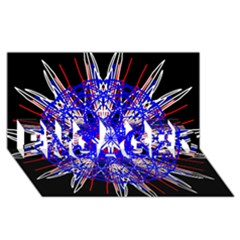 Kaleidoscope Flower Mandala Art Black White Red Blue Engaged 3d Greeting Card (8x4)  by yoursparklingshop