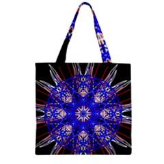 Kaleidoscope Flower Mandala Art Black White Red Blue Zipper Grocery Tote Bag by yoursparklingshop