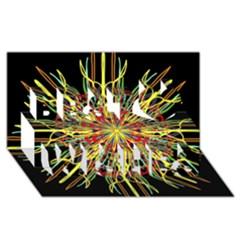 Kaleidoscope Flower Mandala Art Black Yellow Orange Red Best Wish 3d Greeting Card (8x4)  by yoursparklingshop