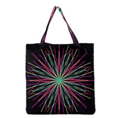 Pink Turquoise Black Star Kaleidoscope Flower Mandala Art Grocery Tote Bag by yoursparklingshop