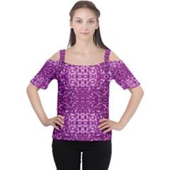 Lion In Purple Women s Cutout Shoulder Tee by pepitasart