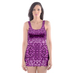 Lion In Purple Skater Dress Swimsuit