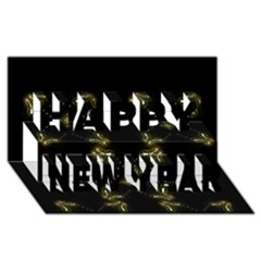 Festive Black Golden Lights  Happy New Year 3d Greeting Card (8x4)  by yoursparklingshop