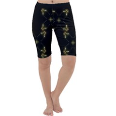 Festive Black Golden Lights  Cropped Leggings  by yoursparklingshop