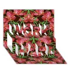 Floral Collage Pattern Work Hard 3d Greeting Card (7x5)