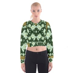 Roses And Flowers In Gold Women s Cropped Sweatshirt by pepitasart