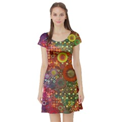 Circle Fantasies Short Sleeve Skater Dress by KirstenStar