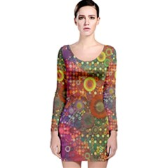 Circle Fantasies Long Sleeve Velvet Bodycon Dress by KirstenStar