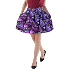 Blue Purple Shattered Glass A Line Pocket Skirt by KirstenStar