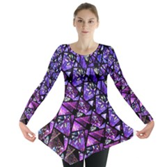 Blue Purple Shattered Glass Long Sleeve Tunic