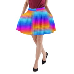 Psychedelic Rainbow heat waves A-Line Pocket Skirt by KirstenStar