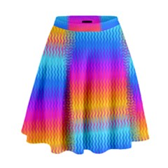 Psychedelic Rainbow Heat Waves High Waist Skirt by KirstenStar