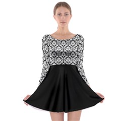 Black And White Damask Pattern Long Sleeve Skater Dress by Zandiepants