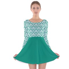 Emerald Green Damask Pattern Long Sleeve Velvet Skater Dress by Zandiepants