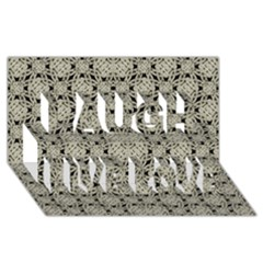 Interlace Arabesque Pattern Laugh Live Love 3d Greeting Card (8x4)